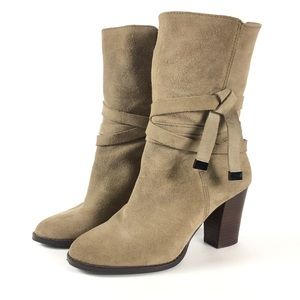 Saks Fifth Avenue Suede Tan Brown Harness Boot 7
